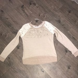 Miss Me, terry sweatshirt, cream with lace/beading